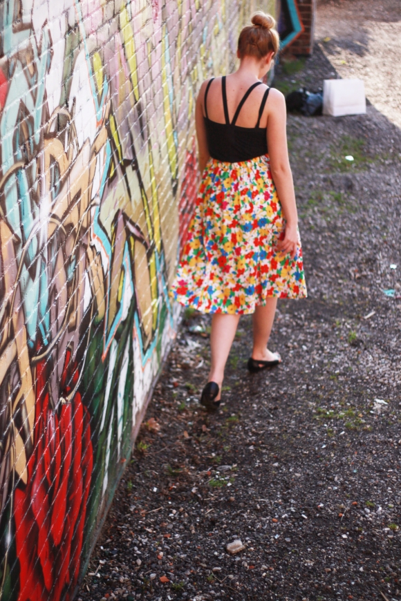 Vintage rainbow skirt and a strappy tank // We So Thrifty