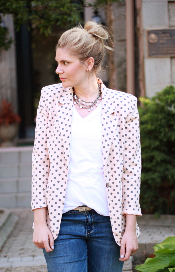 Polka dot blazer + plain white tee // We So Thrifty