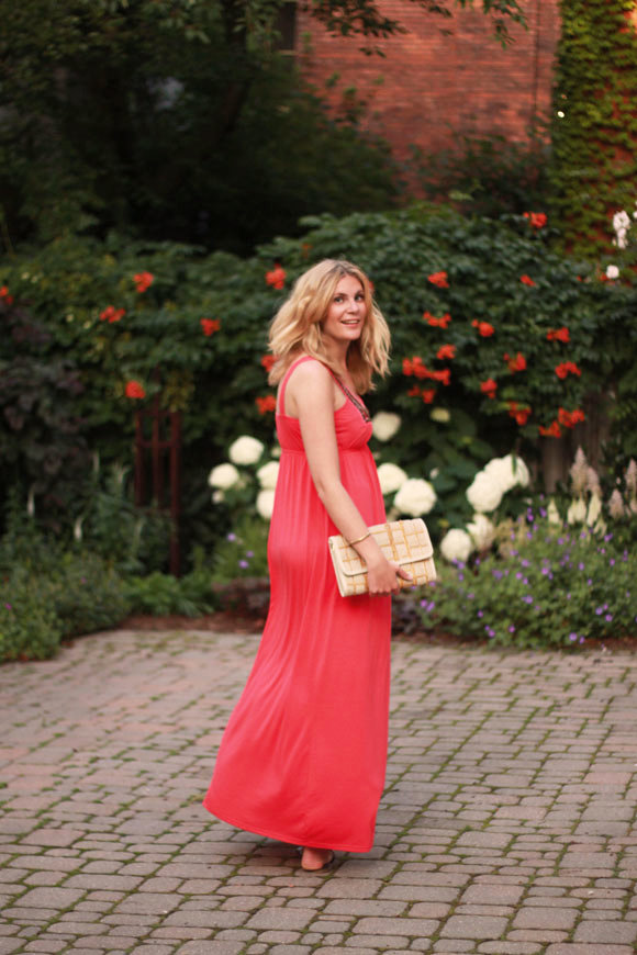 Coral maxi dress // We So Thrifty