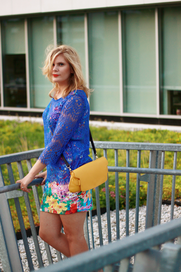 Bright lace over bold florals // We So Thrifty