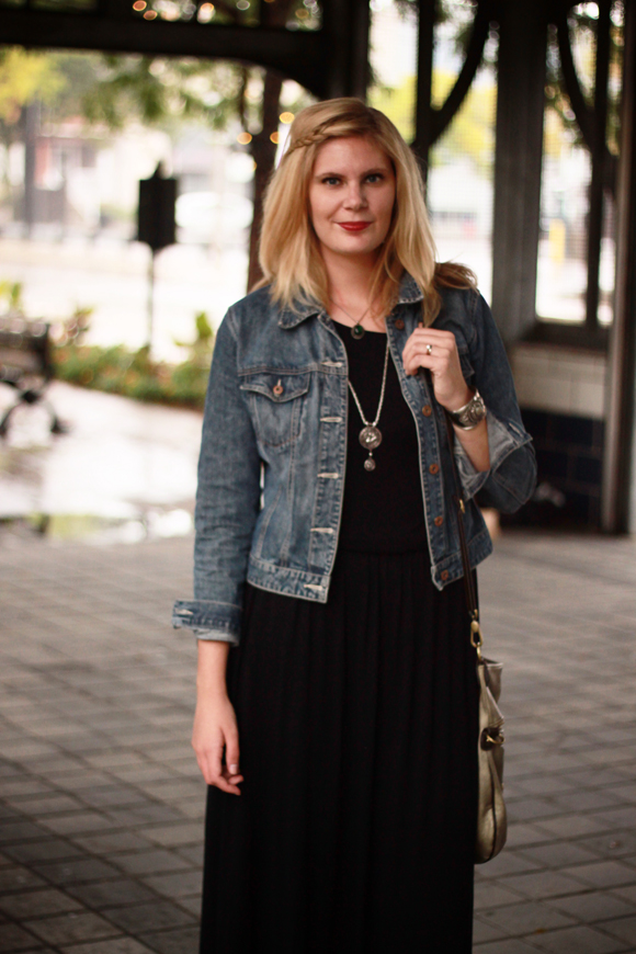 Maxi dress + denim jacket // We So Thrifty