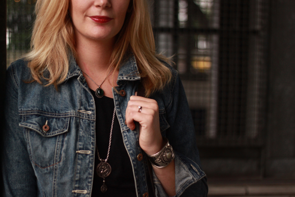 Antique jewellery + denim jacket // We So Thrifty