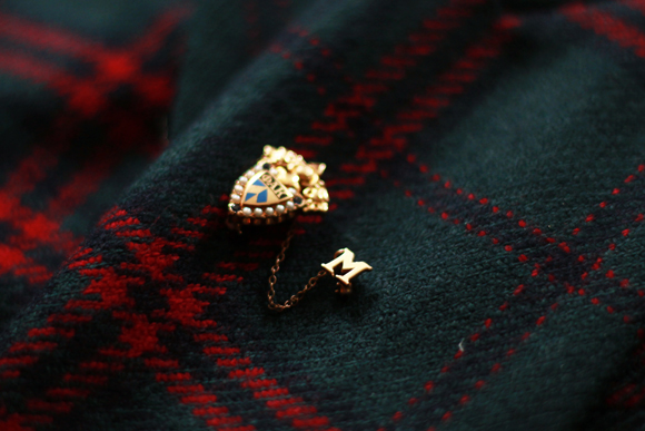 Vintage plaid blazer + fraternity pin // We So Thrifty