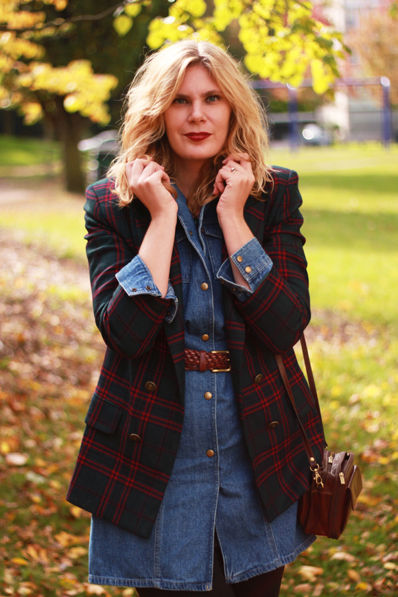 Vintage plaid blazer + denim // We So Thrifty