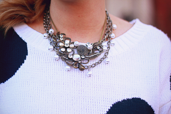 Polka dot sweater + layered necklaces // We So Thrifty
