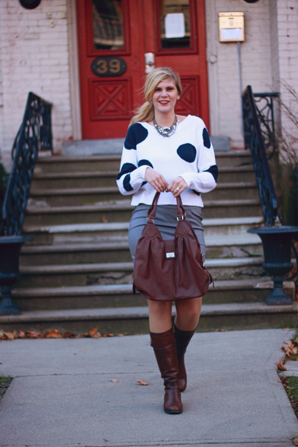Polka dot sweater + pencil skirt // We So Thrifty
