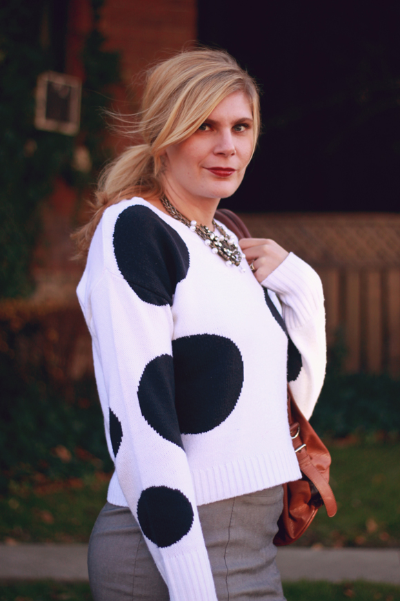 Polka dot sweater // We So Thrifty