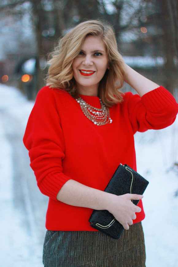 Vintage red sweater over a sparkly dress // We So Thrifty