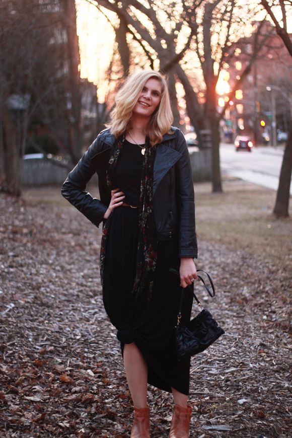 Knotted maxi, leather jacket, ankle boots // We So Thrifty