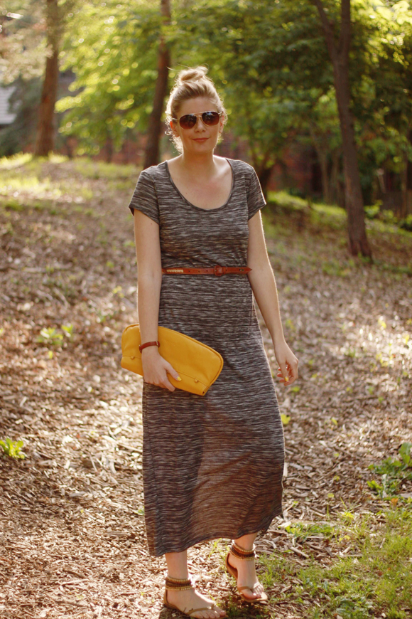 Belted t-shirt maxi dress // We So Thrifty