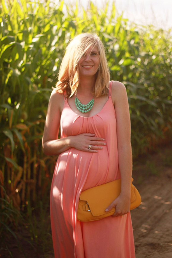 Coral maxi dress + mint necklace // We So Thrifty