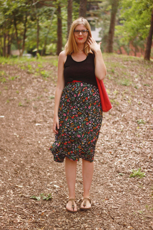 Floral skirt, knotted top // We So Thrifty