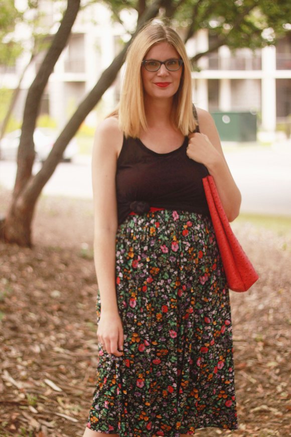 Floral skirt + knotted top // We So Thrifty
