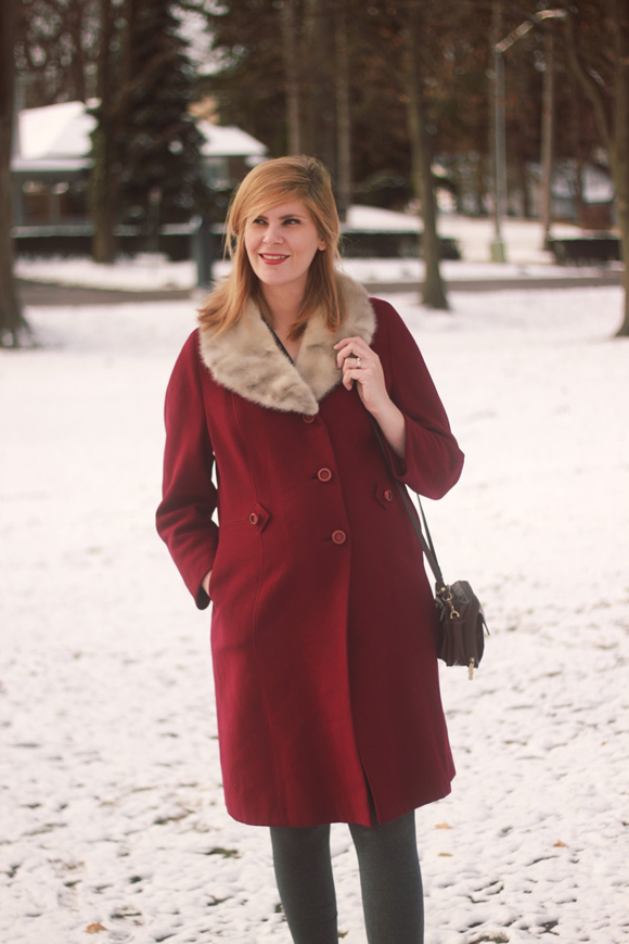 Berry vintage coat // We So Thrifty