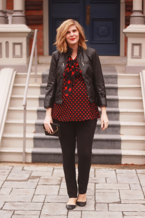 Polka dots + leather jacket // We So Thrifty