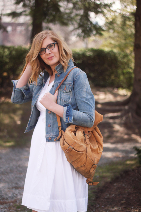 Denim jacket + white dress + vintage back pack // We So Thrifty