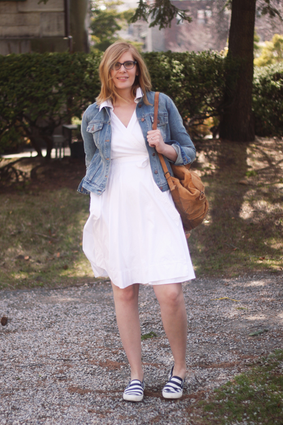 Denim jacket + white dress + slip on sneakers // We So Thrifty